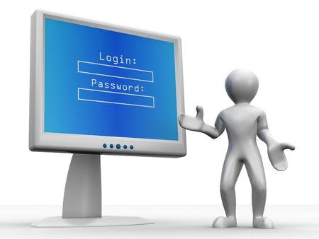 hasło: Monitorować z login i hasło. 3D  Zdjęcie Seryjne