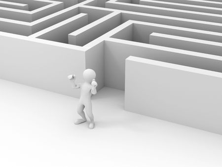 people past the maze. 3d photo