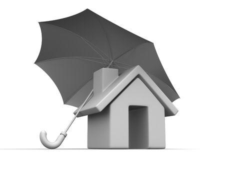 House and Umbrella. 3d Stock Photo - 5804269
