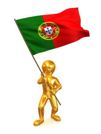 portugal flag: Men with flag. Portugal. 3d