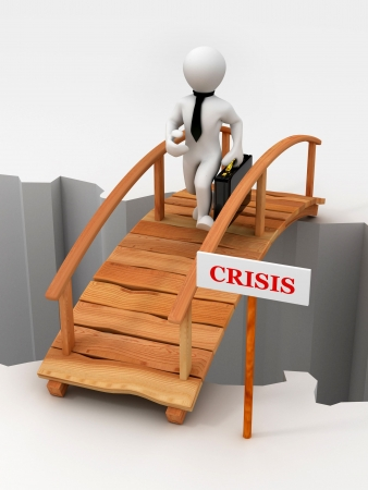 savings risk: bridge crisis. 3d Stock Photo