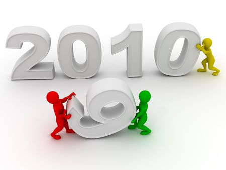 next year: New Year. 2010. 3d