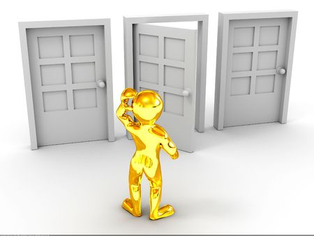 person chooses door. 3d photo