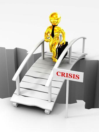 bridge crisis. 3d photo