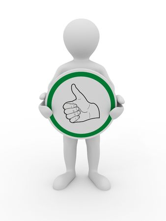 hand showing thumbs up: Symbol ok. 3d Stock Photo
