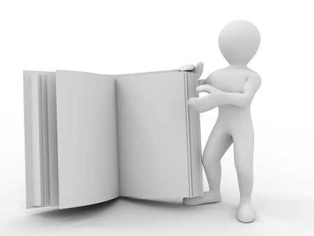 Men with book. 3d Stock Photo - 6088545