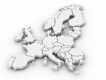 mapa de europa: Mapa de Europa. 3D