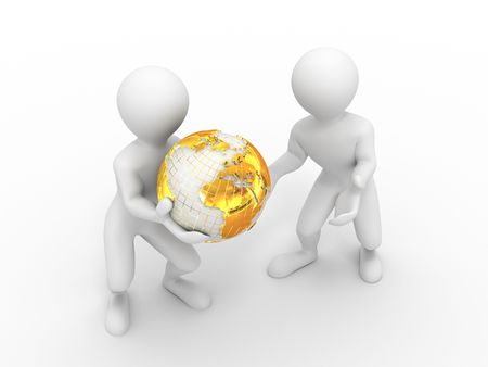 sphere standing: Two men with earth. 3d Stock Photo