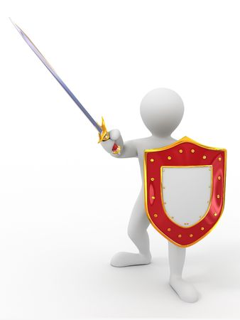Men with shield and sword. 3d photo