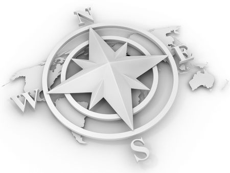 lost world: rose compass. 3d Stock Photo