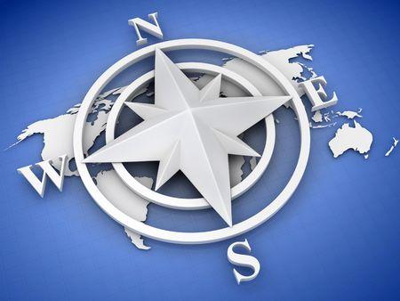 rose compass. 3d photo
