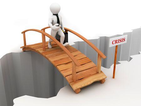 bridge crisis. 3d Stock Photo - 6144146