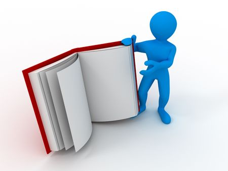 Men with book. 3d Stock Photo - 6144107