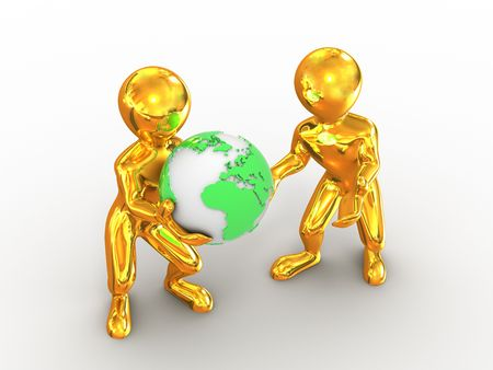 Two men with earth. 3d Stock Photo - 6144155