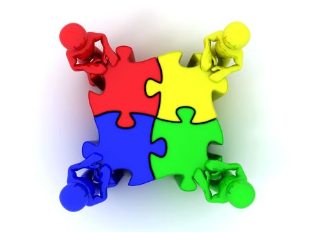 community service: People with puzzle. 3d Stock Photo
