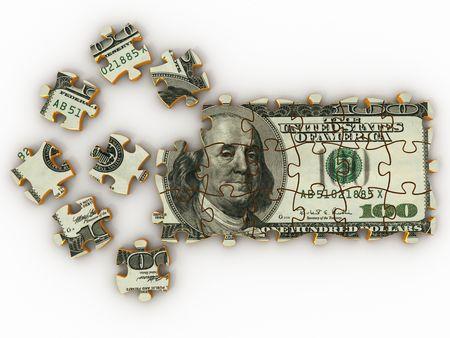 Puzzle dollar. 3d photo