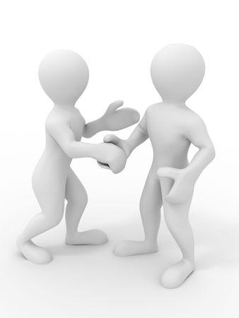 two people meeting: Handshake. 3d