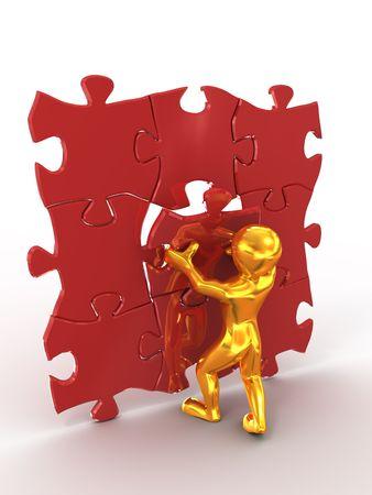 Men with puzzle. 3d photo