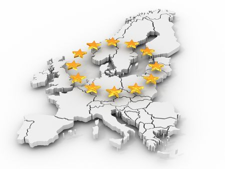Mapa Europy. 3D  Zdjęcie Seryjne - 6238838