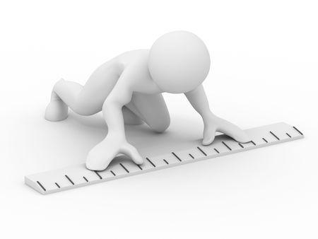 yardstick: Men with yardstick. 3d