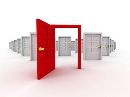 many doors: Many doors. 3d