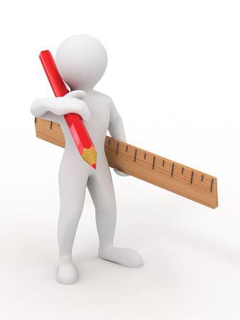 yardstick: Men with yardstick and pencil. 3d