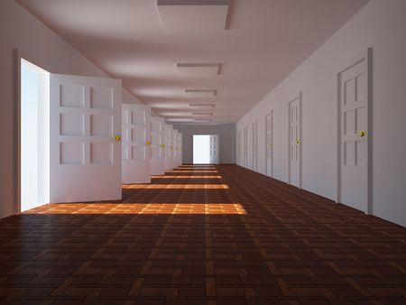 doorway: corridor with open doors. 3d
