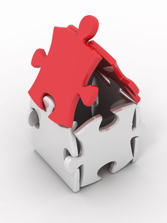 House from puzzles. 3d photo