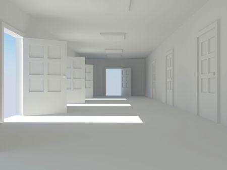 corridor with open doors. 3d photo