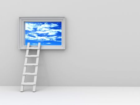 staircase to the picture with the sky. 3d photo