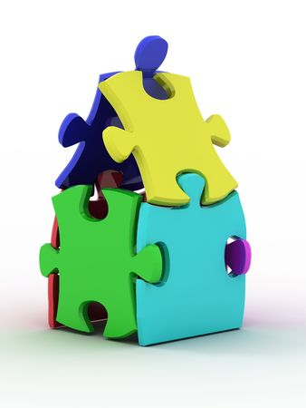House from puzzles. 3d Stock Photo - 6421995
