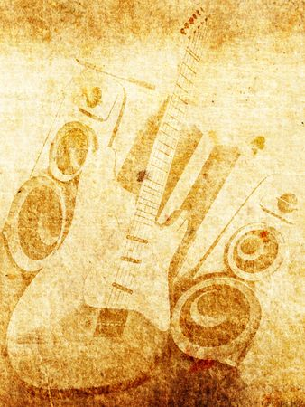 rock music background: Vintage old paper with guitar and loudspeaker