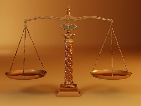 Symbol of justice. Scale. 3d photo