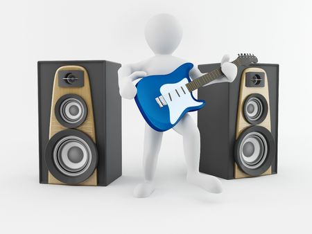 Men with guitar and loudspeaker. 3d photo