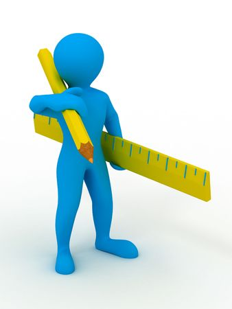 Men with yardstick and pencil. 3d Stock Photo - 6421982