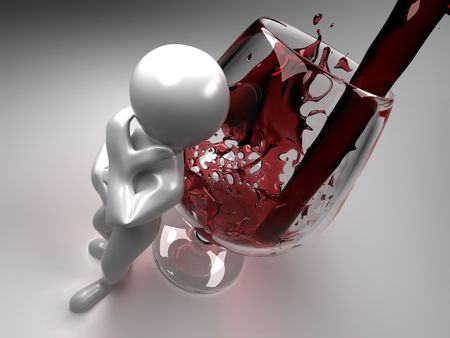 drink me: Men with glass of wine. 3d