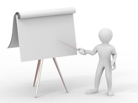 blackboard cartoon: Men with empty board. 3d Stock Photo