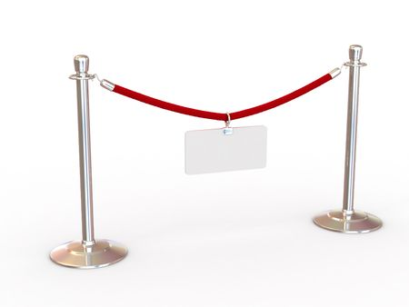 roped: Rope fence with empty plate. 3d