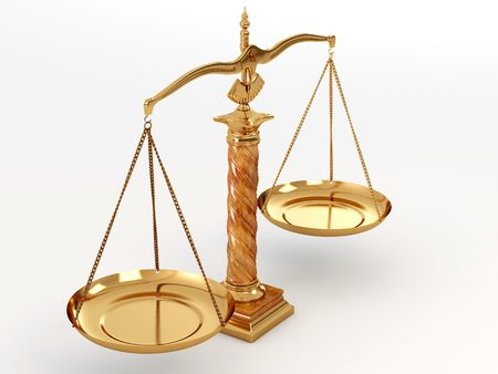trial balance: Symbol of justice. Scale. 3d