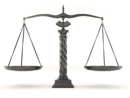 balanza justicia: S�mbolo de la justicia. Escala. 3D Foto de archivo