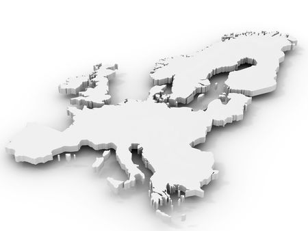 european culture: Map of  Europe. 3d
