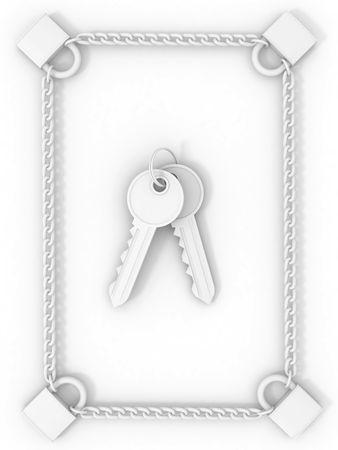 Lock, chain and keys. 3d Stock Photo - 6487552