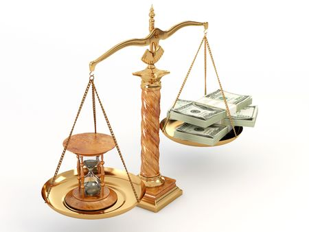 axiom: Time is money. Money and hourglass on scale.3d Stock Photo