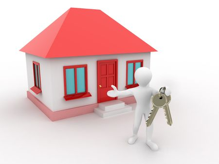 man with the keys of the house. 3d photo