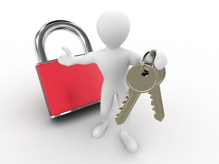 Men with keys and lock. 3d Stock Photo - 6589165