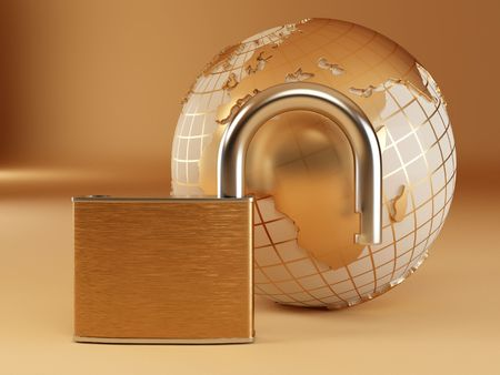 Earth with padlock. 3d photo