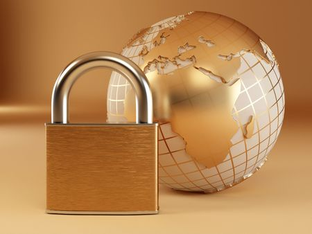 Earth with padlock. 3d Stock Photo - 6589238