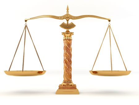 legal system: Symbol of justice. Scale. 3d