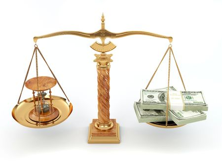 Time is money. Money and hourglass on scale.3d photo
