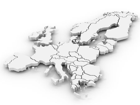 european union: map of europe. 3d